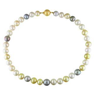 Miadora 14k Yellow Gold Multi colored Pearl and Diamond Accent