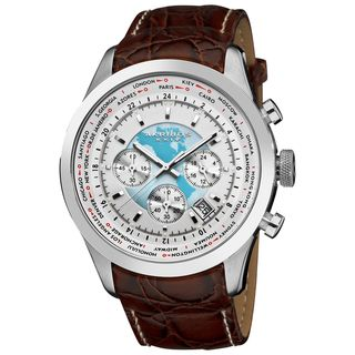Akribos XXIV Mens Stainless Steel Leather Strap Chronograph Watch