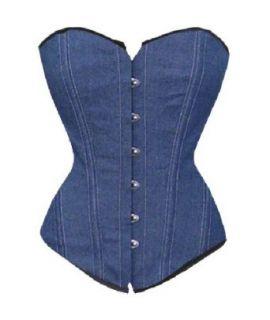 Echtes Jeans Vollbrust Korsett Mieder Corsage Dessous Blau: