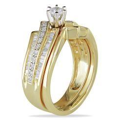 Miadora 10k Yellow Gold 1/2ct TDW Diamond Bridal Ring Set (H I, I2 I3