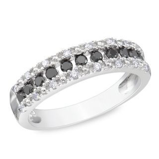 Miadora Sterling Silver 1/2ct TDW Black and White Diamond Ring (H I