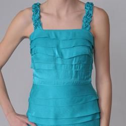 Sangria Womens Shimmering Tiered Cocktail Dress
