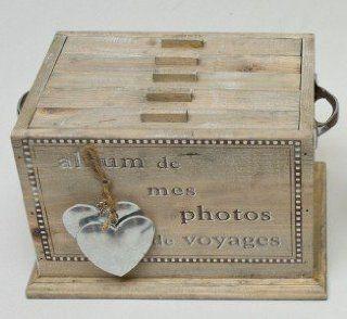 Fotobox Fotobehälter Nostalgie Landhaus  Stil Holz natur 100 Fotos