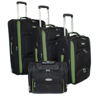 Bell + Howell Herb Green Quick Access 4 piece Expandable Luggage Set