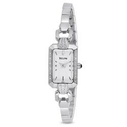 Bulova Womens Stainless Steel Diamond Accent Rectangular Watch