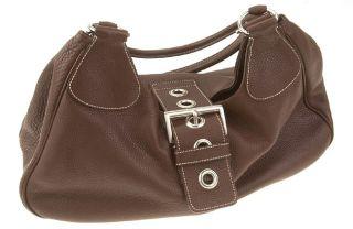 Prada Brown Pebbled Leather Handbag
