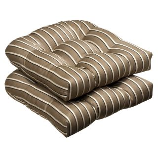 Pillow Perfect Outdoor Brown/ Beige Textured Wicker Seat Cushions with