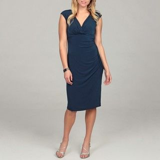 London Times Womens Navy Jersey Sheath Dress