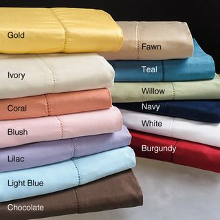 Hemstitch 400 Thread Count Sateen Cotton Sheet Set