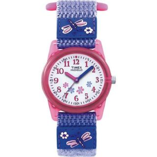 Timex Kids Pink Floral Dragonfly Nylon Strap Watch