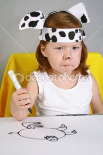 Sadness girl sketches drawing  Stock Photo © Людмила
