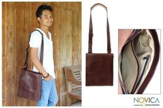 Leather Mens Jakarta Brown Large Messenger Bag (Indonesia