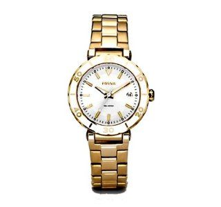 Fossil Womens AM4308 Gold Tone Stainless Steel Bracelet White Analog