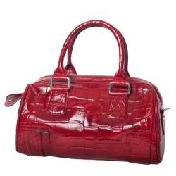 Michael Rome Patent Croco embossed Leather Bowler Bag