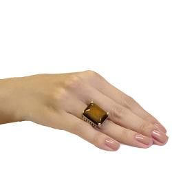 Adee Waiss 18k Gold Overlay Tigers Eye Ring