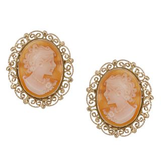 14k Yellow Gold Hand carved Shell Cameo Earrings