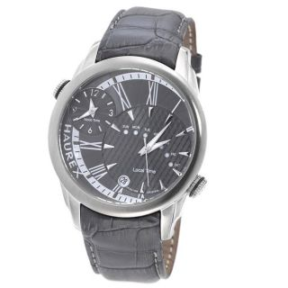 Haurex Italy Mens Big Fly Grey Stainless Steel Dual Time Watch