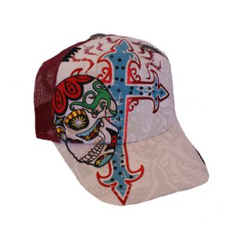 Rebel Spirit Skull and Cross Rhinestone Trucker Hat