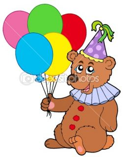 Clown bear with balloons  Stock Vector © Klara Viskova #2148333