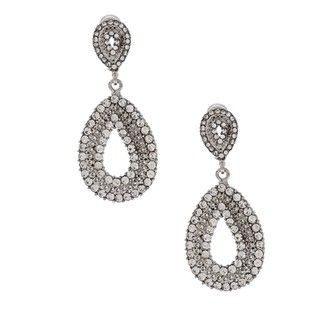 Morgan Ashleigh Rhodium plated Clear Glass Open Teardrop Earrings