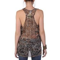 Tressa Designs Womens Contemporary Plus Sleeveless Animal Print Top
