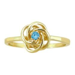 10k Gold December Birthstone Swiss Blue Topaz Designer Love Knot Ring