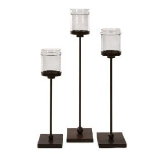 Set of 3 Modern Jar Style Floor Pillar Candle Holders on Iron Bases 41