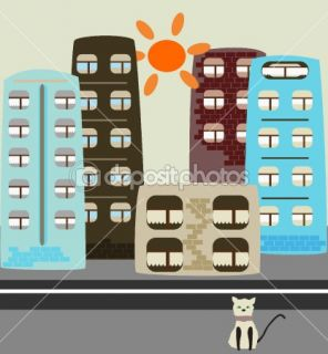 Cartoon houses  Stock Vector © Ghenadie Pascari #2401220