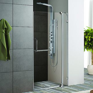 Vigo 36 inch Clear Glass Frameless Shower Door with Brushed Nickel