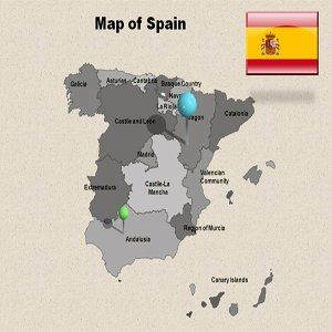 Editable Spain Powerpoint Map   Spain Powerpoint Template