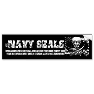 Navy SEALs Jolly Roger Bumper Stickers Black