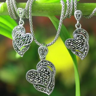 Sterling Silver and Marcasite Hearts Necklace and Earring Set