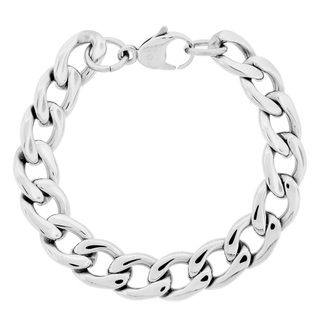 Stainless Steel Mens 9 inch Thick Curb Chain Bracelet