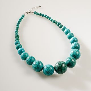 Creative Design Group Viva Green Wood Bead Necklace