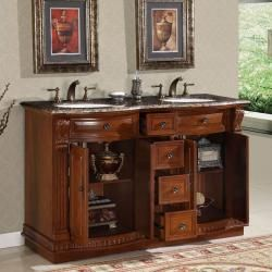 Silkroad Exclusive Granite Top 55 inch Double Sink Vanity Cabinet