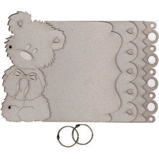 Fabscraps Grey Teddy Bear Die Cut Chipboard Album