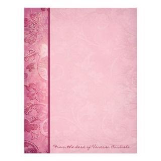 Pink Floral Paisley Personalized Letterhead letterhead