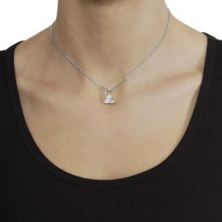 Journee Collection Silvertone Trillion cut CZ Necklace