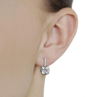 Journee Collection Silvertone Pave set Cushion cut CZ Dangle Earrings