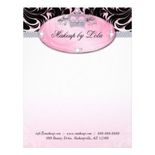 Fashion Makeup Artist Letterhead Crown Pink
