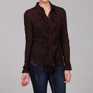 Violet & Claire Womens Crinkle Long sleeve Top