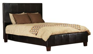 Milano Low Profile Black Leather Cal King size Bed