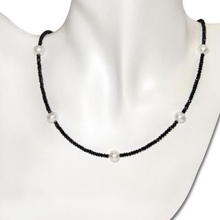 FW Pearl and Black Spinel Bead Necklace (8 9 mm)