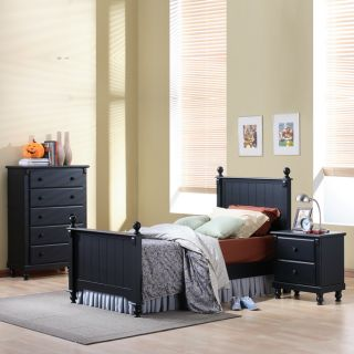 Macedonia Black 3 Piece Twin Bed Bedroom Set