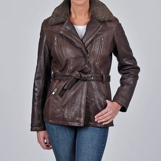 Tibor Design Womens New Zealand Lamb Leather Bubble Jacket with