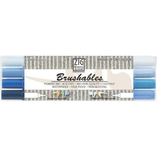Zig Memory System Brushables Blue Dual Tip Markers (Pack of 4