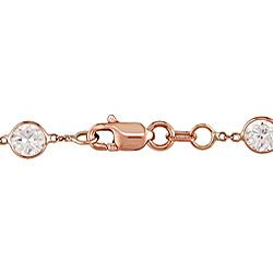 14k Pink Gold All around Bezel set CZ Necklace
