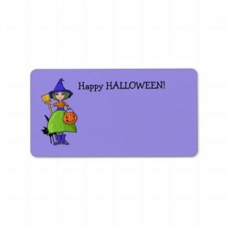 Little Witch purple Halloween Note Card