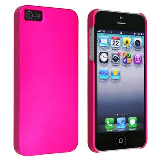 BasAcc Hot Pink Snap on Rubber Coated Case for Apple iPhone 5