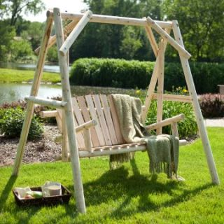 Rustic Natural Log Porch Swing and A Frame Set   Adirondack Furniture
